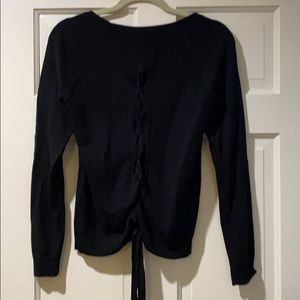 Lululemon black crew neck sweater with tie back